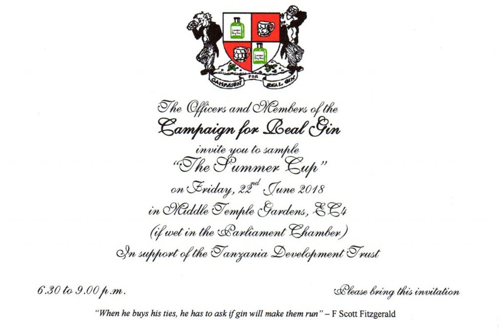 invitation to Campaign for Real Gin 2018 garden party in aid of Tanzania Development Trust
