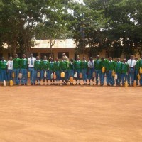 Pupils with water cans, Kabagwe School