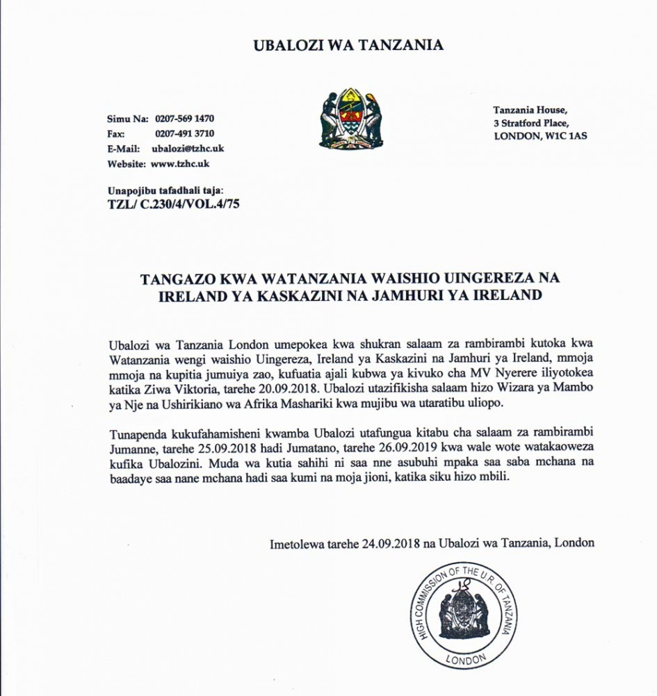 letter from tanzanian high commission ere book of condolence