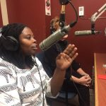 Rhobi Samwelly and Giselle Portenier spreading the word in Canada by radio