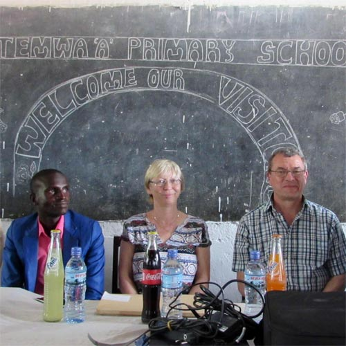 Hilary and Peter Bacon at Mungano Primary School, Geita