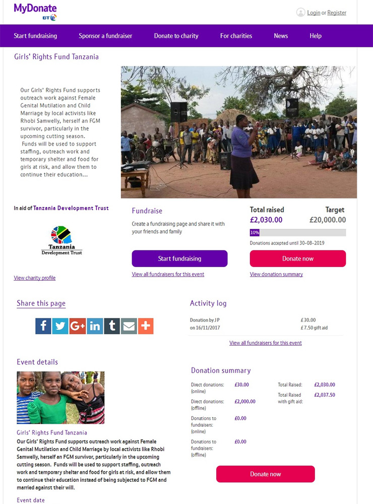 Screenshot of Tanzania Development Trust Girls Rights Fund on MyDonate